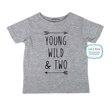 Young Wild & Two - wallsparks cute & funny Brand cool boho 2nd Birthday Shirt Age 2 Two year old - Soft Toddler Shirt (Cute 14 Year Old Boys)