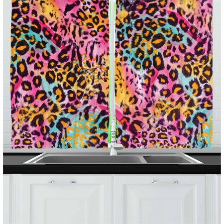Leopard Print Curtains 2 Panels Set, Mottled Exotic Panthera Skin Pattern Colorful Camouflage Style Safari Theme, Window Drapes for Living Room Bedroom, 55W X 39L Inches, Multicolor, by - Camouflage Theme