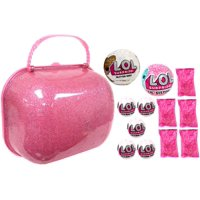 LOL Surprise 2018 EMPTY Carry Case, 1x Glitter, 1x Lil Sister, 5x Charm Fizz & 5x Hairstyle Packs Holiday Gift Bundle Set