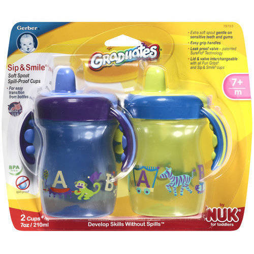 Gerber Graduates Sip & Smile Soft Spout Spill-Proof, BPA-Free, 7 oz, 2ct