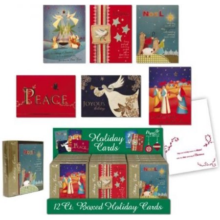 Darice Papercraft Religious Boxed Christmas Cards Assorted (4 Boxes; 12 Cards Per Box)