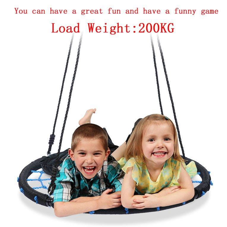 Black And Blue Portable Folding Round Nylon Mesh Children Kids Indoor Outdoor Swing Hammock Outdoor Swing