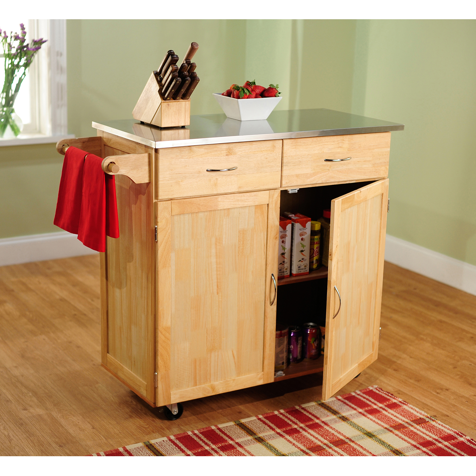 Large Kitchen Cart, Natural with Stainless Steel Top