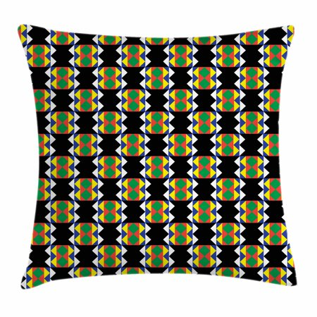 Kente Pattern Throw Pillow Cushion Cover, South African Ethnic Zulu Design with Triangle Details Funky and Timeless, Decorative Square Accent Pillow Case, 18 X 18 Inches, Multicolor, by Ambesonne