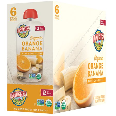 Earth's Best Organic Stage 2, Orange Banana Puree, 4 Ounce Pouch (Pack of