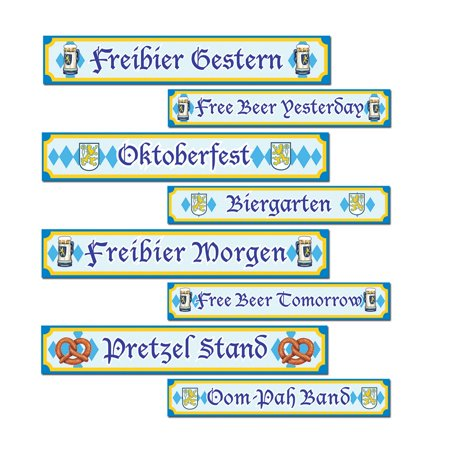 Club Pack of 12 Blue and Yellow Oktoberfest Sign Cutout Decorations 24