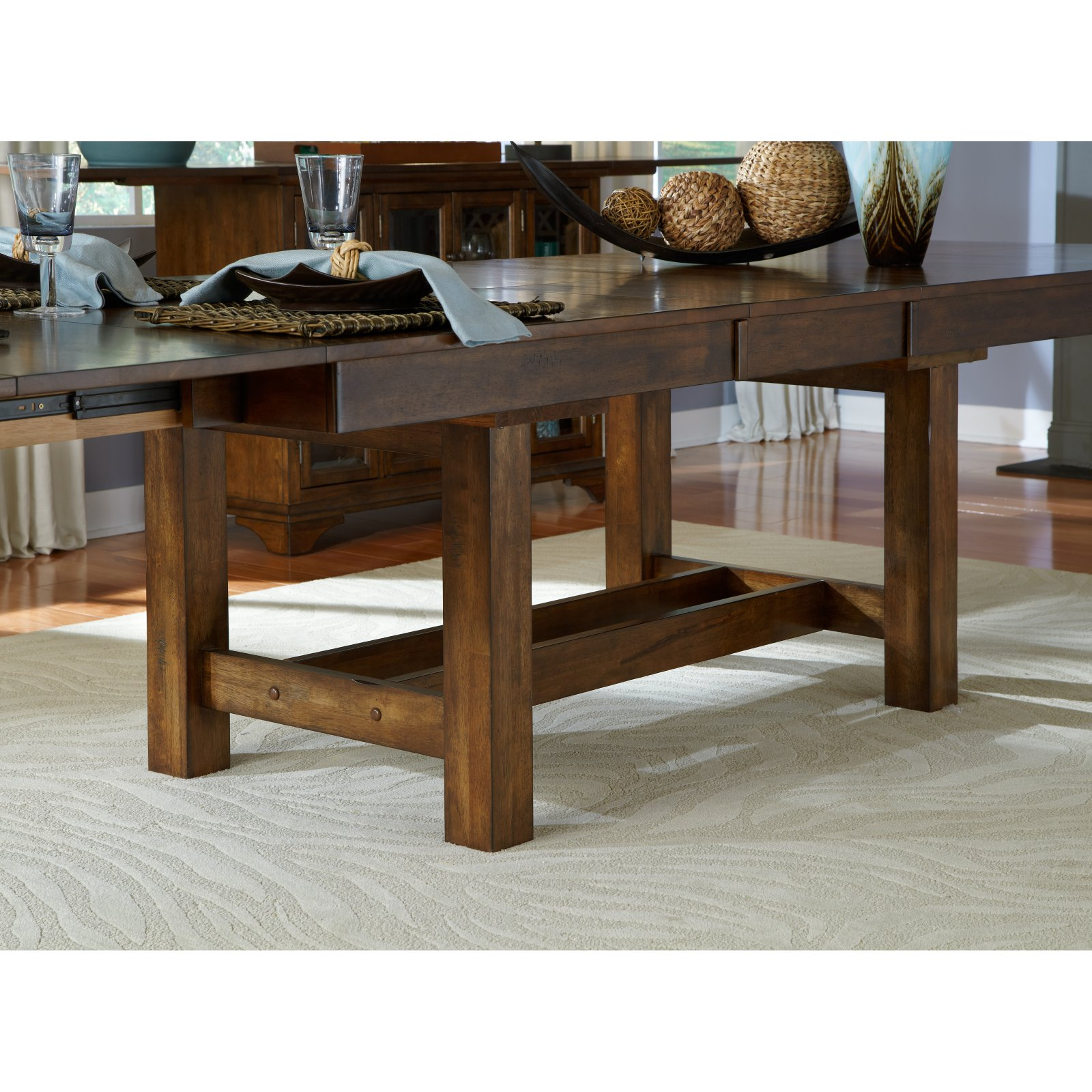 A-America Mariposa Rectangular Trestle Dining Table - Rustic Whiskey