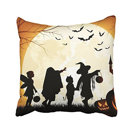 WinHome Happy Halloween Trick Or Treat Moon Castle And Scary Pumpkin Lights Decorative Pillowcases With Hidden Zipper Decor Cushion Covers Two Sides 18x18 inches (Pumpkin And Halloween)