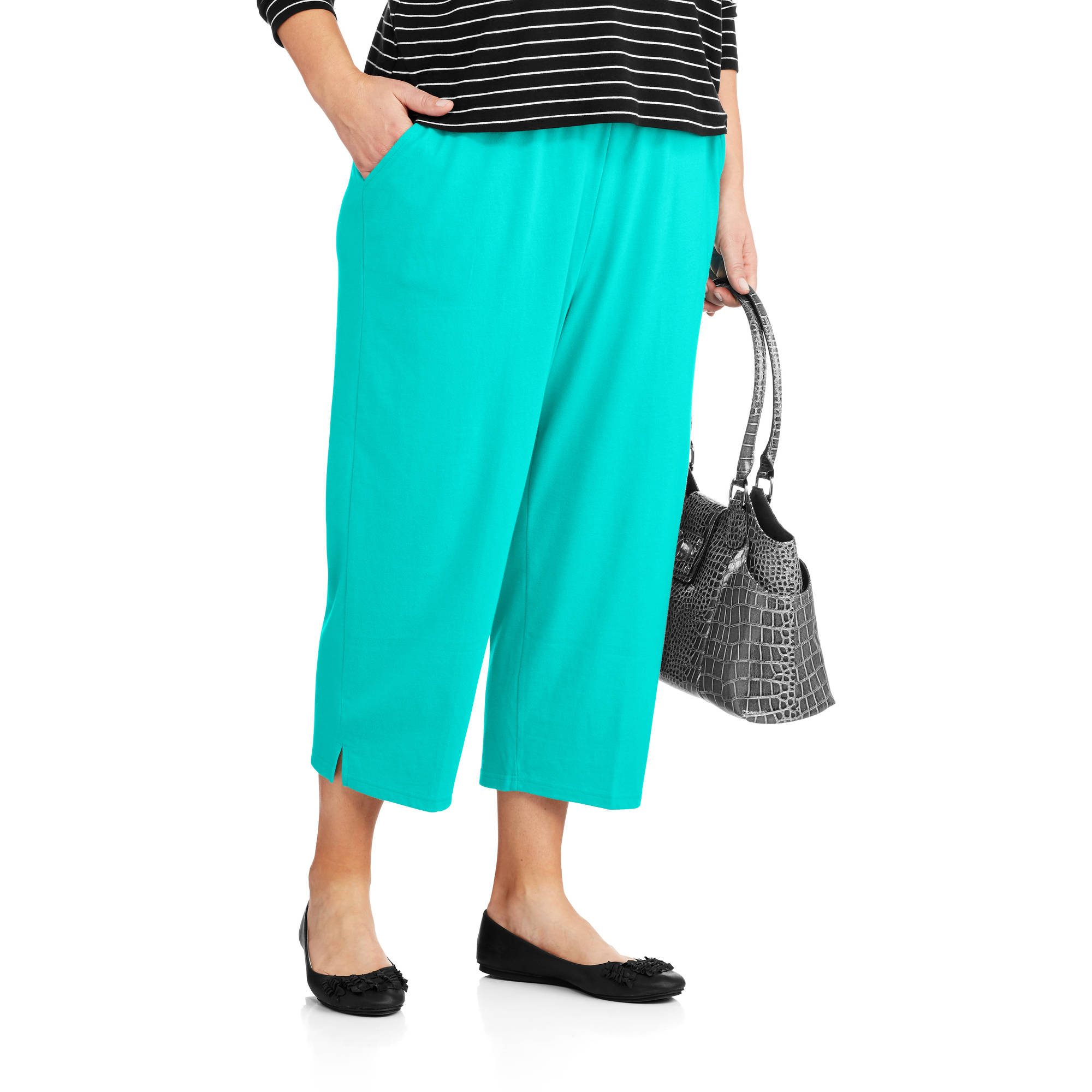 White Stag Women's Plus-Size Essential Pull-On Knit Capris