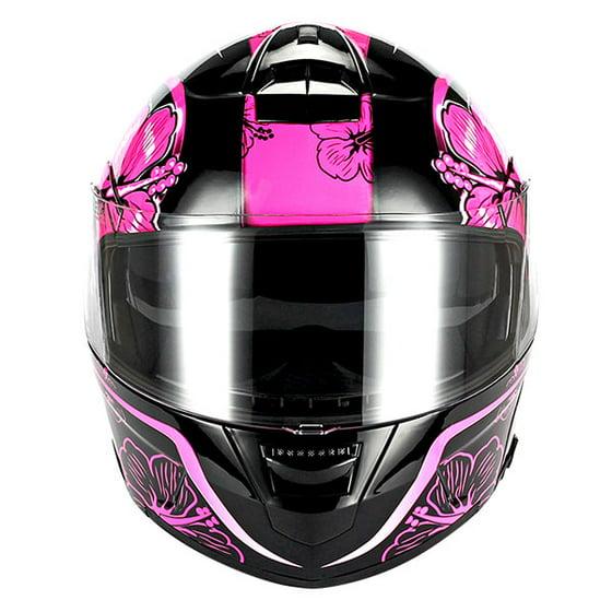 01d219ea 1Storm Motorcycle Modular Full Face Helmet Street Bike Flip up Dual Visor/Sun  Shield Racing Lady Purple Flower Pink - Walmart.com