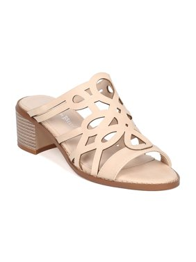 New Women Nature Breeze Dainty-02 Leatherette Open Toe Cut Out Chunky Heel Mule