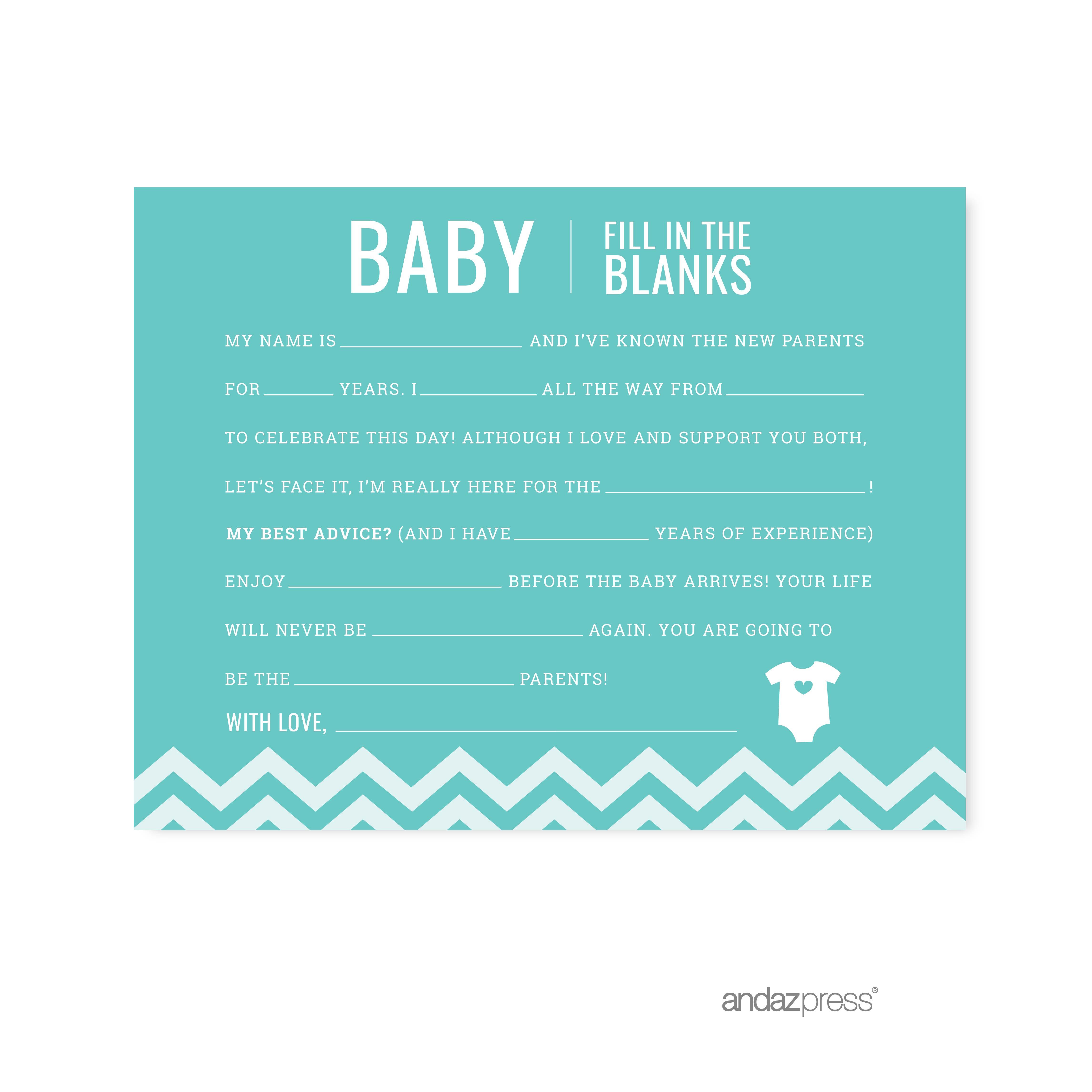 Fill-In-The-Blank Diamond Blue Chevron Baby Shower Games, 20-Pack