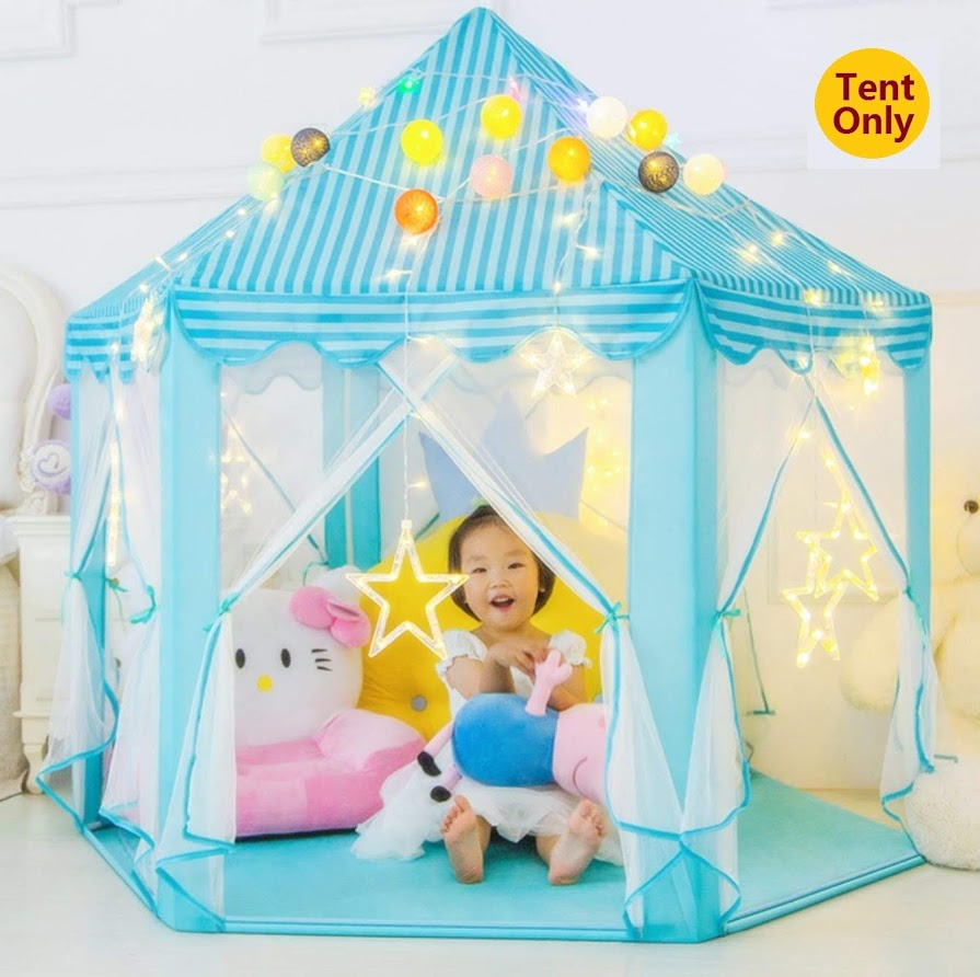 """Kids Indoor/Outdoor Princess Castle Play Tent Fairy Princess Portable Fun Perfect Hexagon Large Playhouse Toys for Girls,Boys,Childrens Gift/Present Extra Large Room 55""""x 53""""(DxH)"""