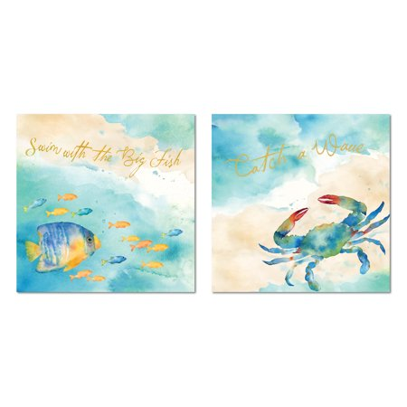 "Inspirational Watercolor-Style ""Swim With The Big Fish"" and ""Catch A Wave"" Fish and Crab Set; Coastal Decor; Two 12x12in Paper Posters"