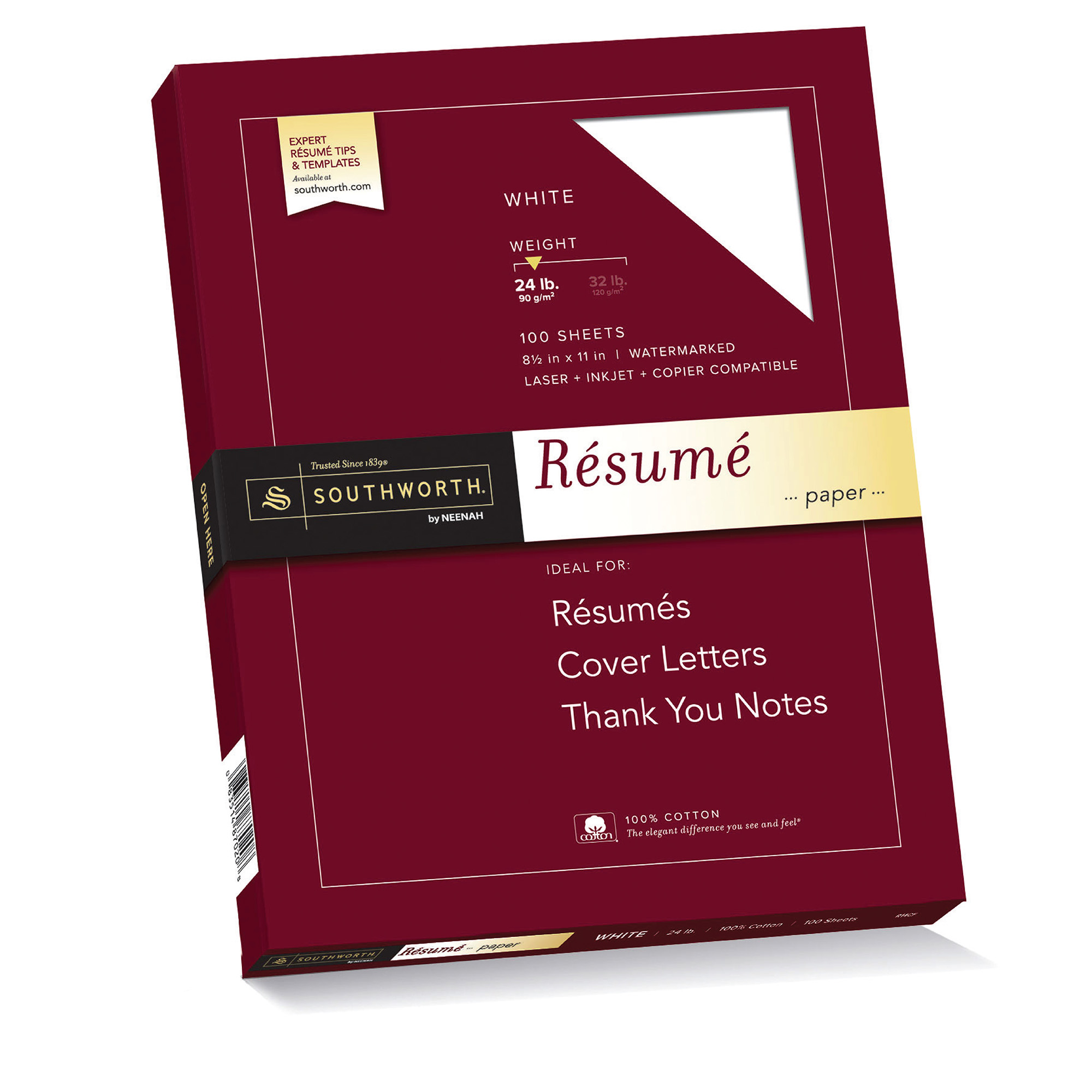 "Southworth 100% Cotton Resume Paper, 8.5"" x 11"", 24 lb., Wove Finish, White, 100 Sheets"