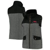 Arkansas Razorbacks Women's Prep For It Herringbone Knit Full-Zip Vest - Black