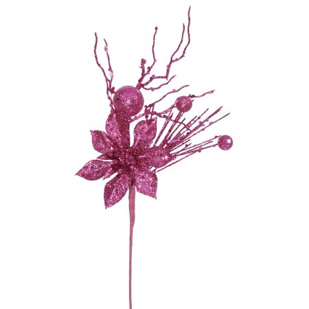 "Vickerman 31718 - 14"" Fuchsia Glitter Poinsettia Berry Spray (J131210)"