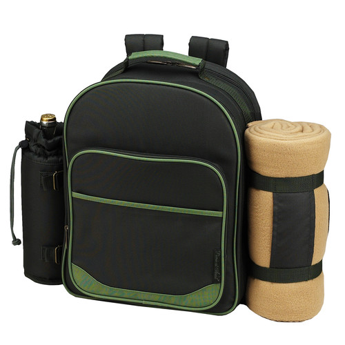 Picnic At Ascot Eco Picnic Backpack Cooler with Blanket and Two Place Settings