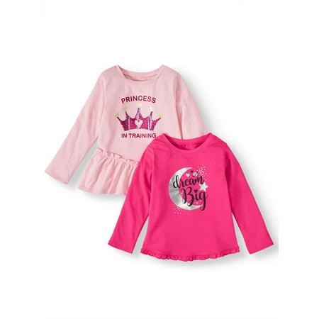 Garanimals Long Sleeve Peplum T Shirt & Ruffle T Shirt, 2 pack (Toddler Girls)