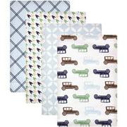 Hudson Baby Receiving Blankets Flannel 4-Pack - Boy Modern