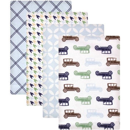 (Hudson Baby Receiving Blankets Flannel 4-Pack - Blue Car)