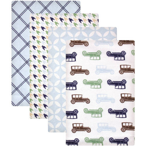 Hudson Baby Receiving Blankets Flannel 4-Pack - Blue Car