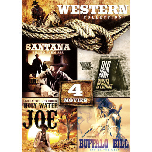 4-Movie Western Collection: Santana Killed Them All / Dig Your Grave, Sabata Is Coming / Holy Water Joe / Buffalo Bill, Hero Of The West