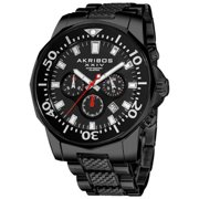 Akribos XXIV  Men's Stainless Steel Diver's Traditional Chronograph Black Watch