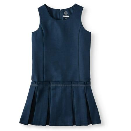Wonder Nation Girls School Uniform Pleated Jumper Dress, Sizes 4-16