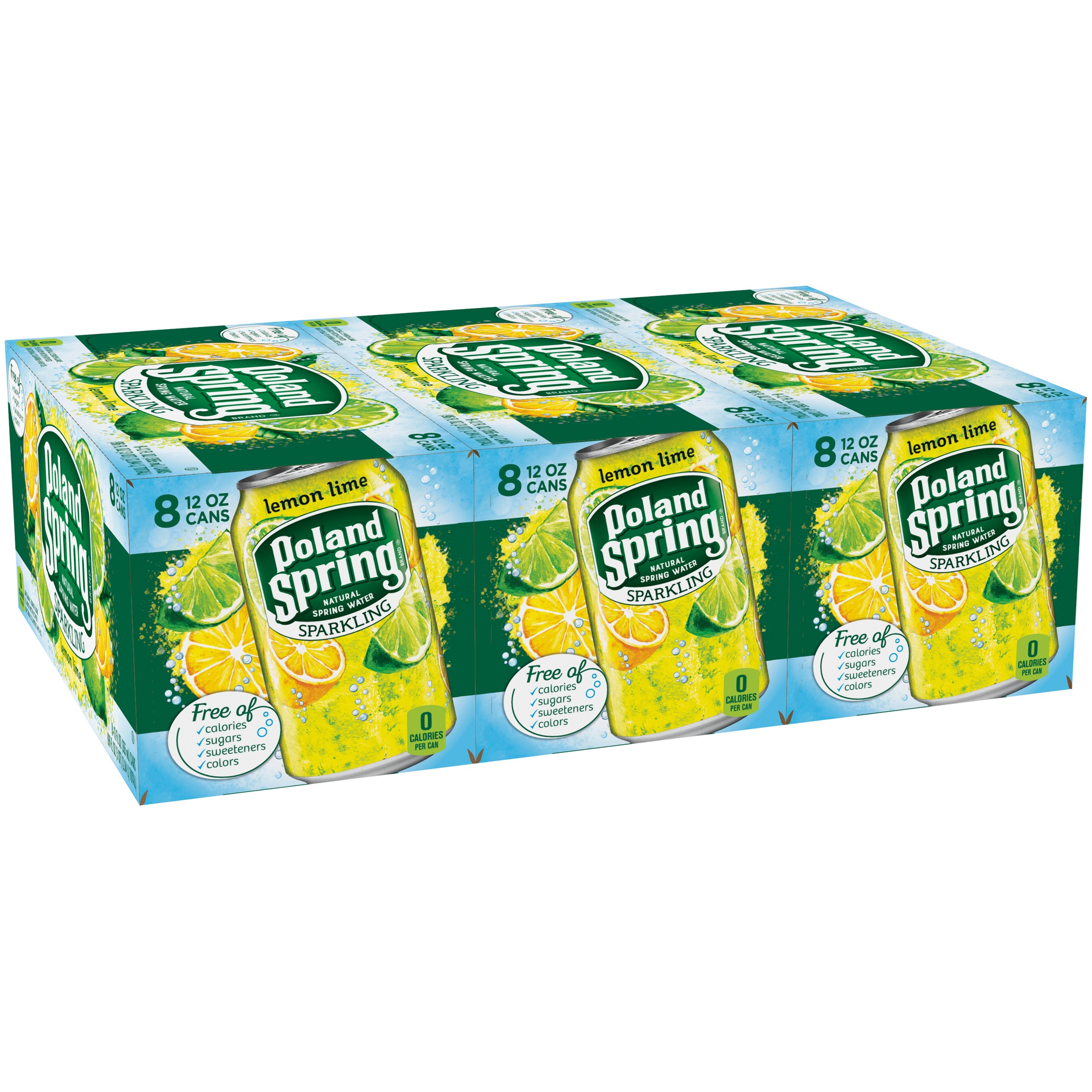 Poland Spring Sparkling Water, Lemon Lime, 12 oz. Cans (Pack of 24)