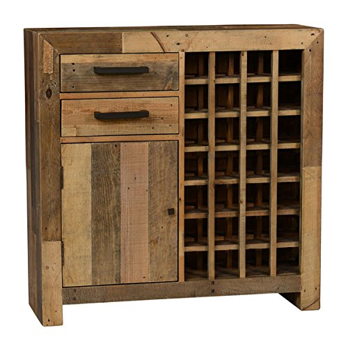 Industrial Rustic Reclaimed Wood Wine Cabinet with 2 Drawers 1 Door and 1 Fixed Shelf - Includes Modhaus Living Pen (Natural)