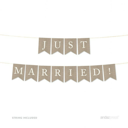 Just Married Burlap Wedding Pennant Party - Custom Wedding Banners