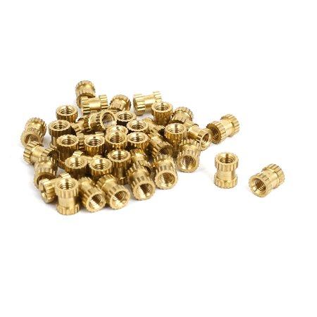 M3x6mmx5mm Female Threaded Brass Knurled Insert Embedded Nuts Gold Tone 40pcs