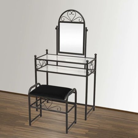 Household 2 Layer Heart Shaped Iron Decoration Dresser with Rectangular Dressing Stool, Black