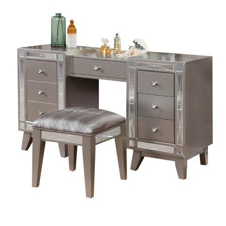 Kingfisher Lane 2 Piece Mirrored Bedroom Vanity Set in -