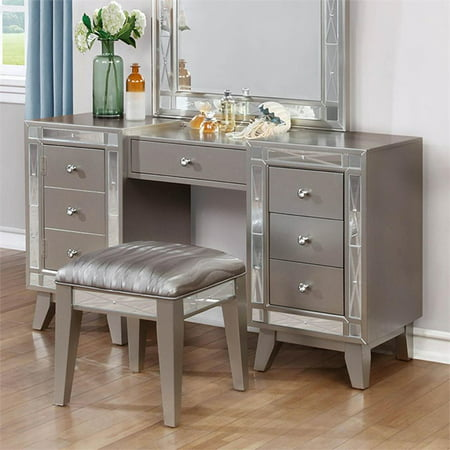 Kingfisher Lane 2 Piece Bedroom Vanity Set in Metallic Mercury