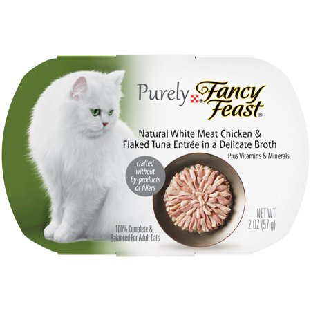 Fancy Feast Purely Natural White Meat Chicken & Flaked Tuna Entree In A Delicate Broth Cat Food Case of 10- 2 oz. Trays
