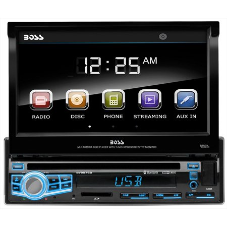 Boss Audio BV9976B Single Din, Touchscreen, Bluetooth, DVD / CD / MP3 / USB / SD AM/FM Car Stereo, 7 Inch Digital LCD Monitor, Wireless Remote, Multi-Color (Best 7 Inch Touch Screen Car Stereo)
