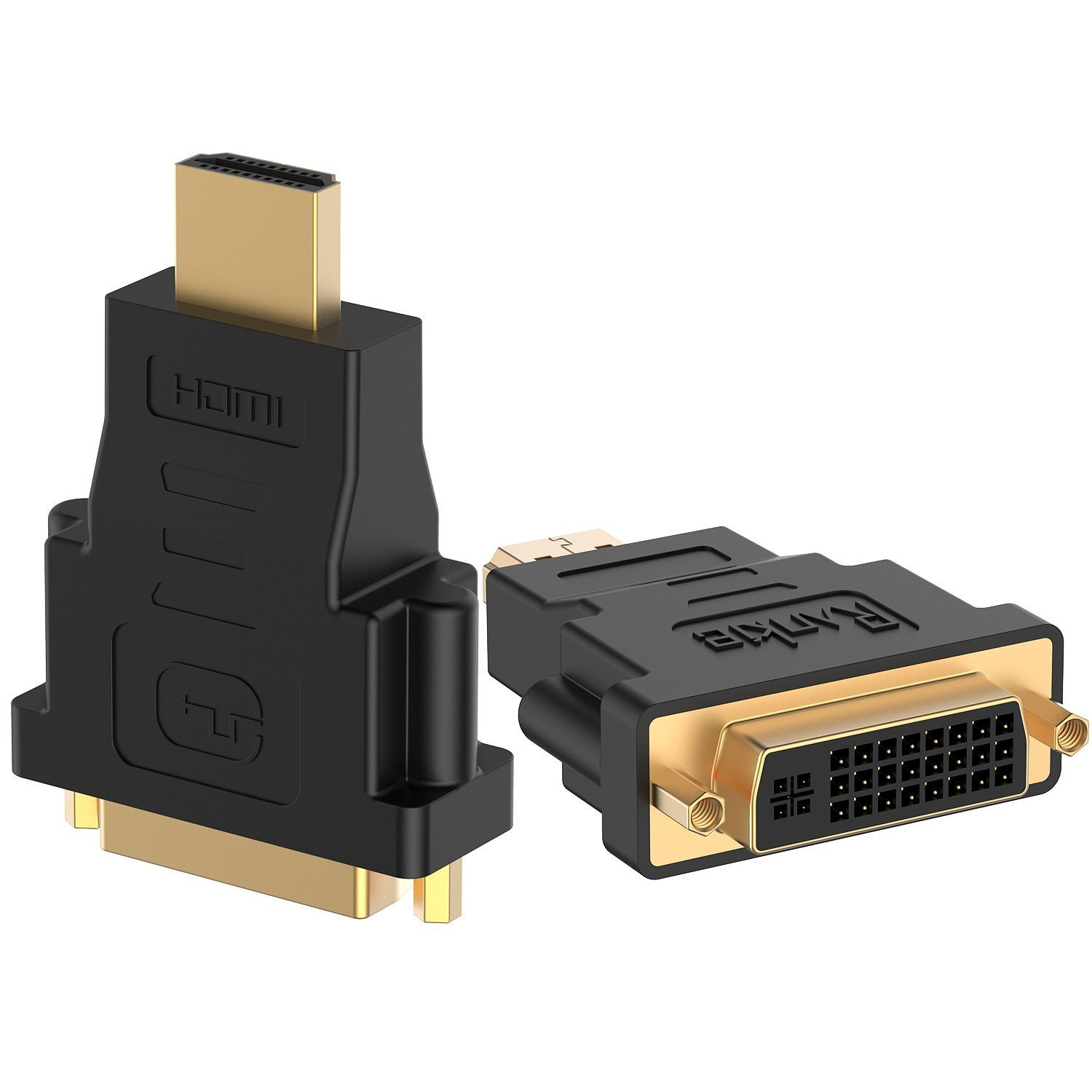 Rankie 2-Pack HDMI (Male) to DVI (Female) Adapter (Black)