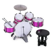 Romacci Children Kids Drum Set Musical Instrument Toy 5 Drums with Small Cymbal Stool Drum Sticks for Boys Girls