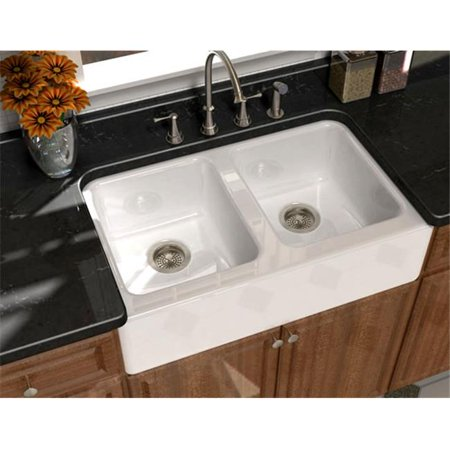 SONG S-8840-4U-70 Undercounter Farmhouse Sink in White with 4 Faucet