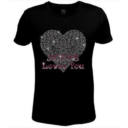 Bling Rhinestone Womens T Shirt Jesus Loves You