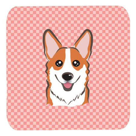 3.5 x 3.5 In. Checkerboard Pink Corgi Foam Coasters, Set Of 4