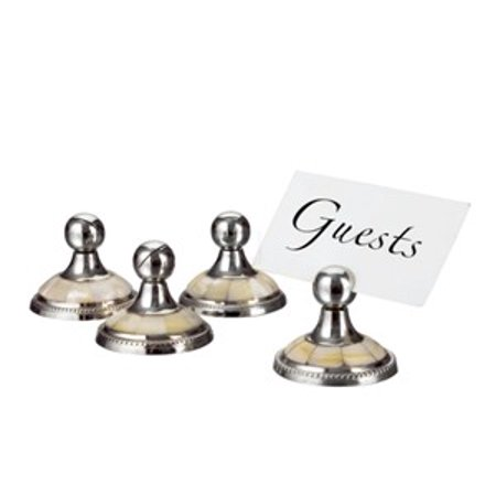 Mother of Pearl Nickel-Plated Place Card Menu Holders, Set of 4