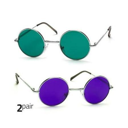 2 PAIR John Lennon Style Vintage Circle Round Sunglasses Men Women GREEN (Shades And Style Sunglasses)