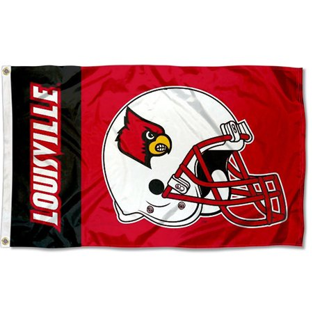 University Of Louisville Cardinal Football - Louisville Cardinals Football Helmet 3' x 5' Pole Flag