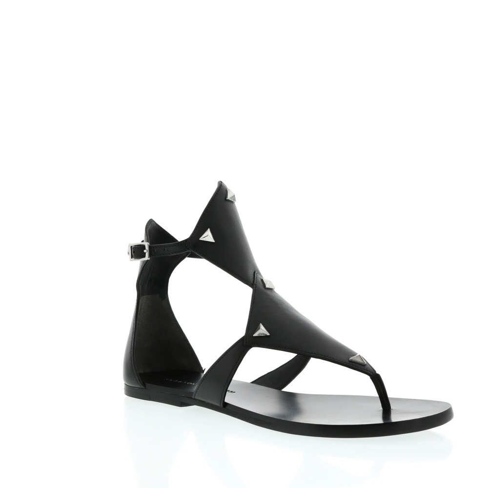 Sigerson Morrison Black Leather High Vamp Flat Sandal