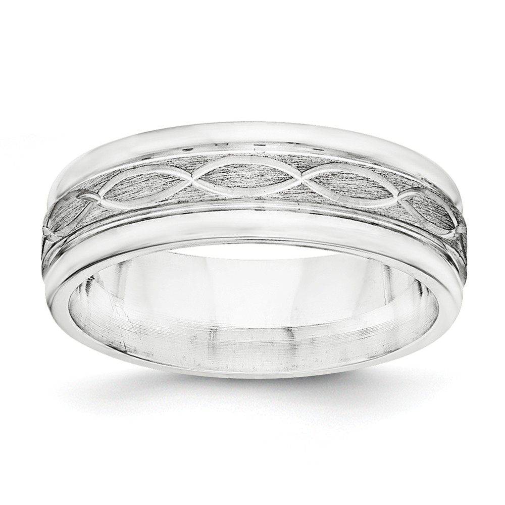 925 Sterling Silver 7mm Brushed Fancy Band Size 7 Size-7