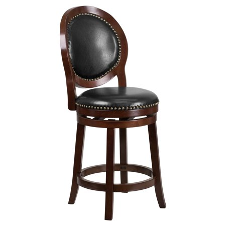Flash Furniture 26'' High Cappuccino Counter Height Wood Barstool with Black Leather Swivel -