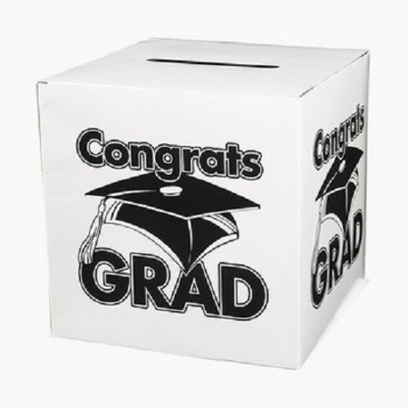 White Congrats Grad Money Gift Card Box Graduation Party](Graduation Party Card Box)